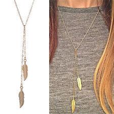 Women Vintage Long Chain Necklace Chic Leaf Feather Tassel Pendant Necklaces EB