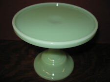 Jadeite green Glass cake serving stand plate platter pedestal raised jadite jade