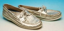 SPERRY TOPSIDER GOLD METALLIC LEATHER  2 EYELET BOAT SHOES WOMENS 9.5 SHARP