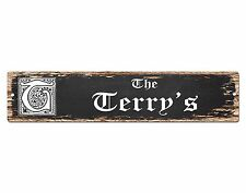 SPFN0336 The TERRY'S Family Name Street Chic Sign Home Decor Gift Ideas