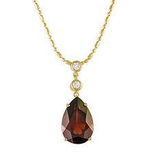 BRAND NEW Garnet & .07 CT. TW. Diamond Pendant in 14K Yellow Gold
