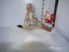 VNT Christmas Lighted Angle Tree Topper & Ceramic Santa w/Baby Jesus in Manger