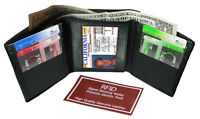 BLACK RFID Blocking Men's Leather Trifold Wallet Thin 9+ Cards Holder