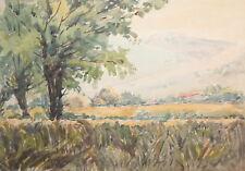 Vintage impressionist watercolor landscape painting