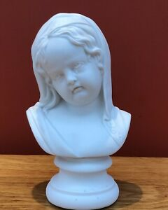Victorian Parian (Parianware) Busts of the Crying Child after Francois Roubiliac