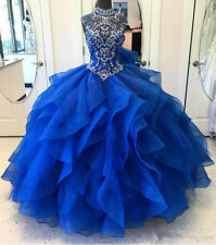 Luxury Beaded Prom Dress High Neck Ball gown Quinceanera Formal Evening Dresses