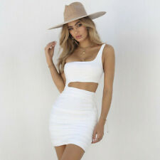 Women One Shoulder Dress Sleeveless Solid Evening Party Bodycon Mini Dress CA