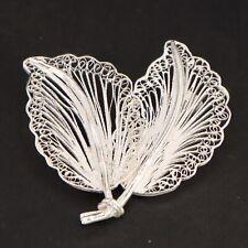VTG Sterling Silver - Filigree Leaf Leaves Plant Brooch Pin - 6g