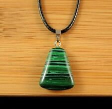 Green Malachite Gemstone Fashion Pendant on a Black Cord Necklace #1229