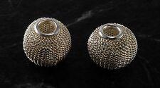 Vintage Silver Tone Mesh Metal Beads Set of 2 Jewelry Making DIY Repupose