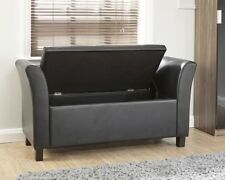 Modern Contemporary Verona Window Seat Black Faux Leather Ottoman Storage Bench