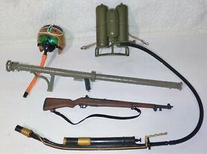 "Lot of GI Joe accessories, rifle, bazooka, flamethrower, helmet, for 1:6 or 12"""