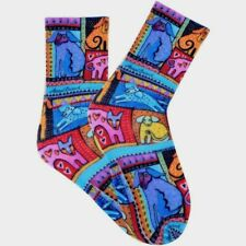 Laurel Burch Socks COLORFUL DOGS ~ RED Size 9 -11 Women Ladies