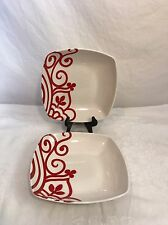 "Lot of 2 Coventry Fine Porcelaine VALLEY RED SWIRLS Soup Cereal Bowls 8"" Bowl"