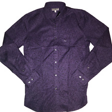 EXPRESS Mens Medium Purple Black Floral Button Down Long Sleeve Casual Shirt
