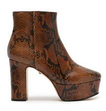 Schutz Ravena Platform Bootie Women's Snake Embossed Leather Heeled Boots US 7 B