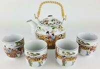 5pc Ceramic ORIENTAL BEAUTIES Chinese Tea Set Teapot strainer 4 Cups in gift box
