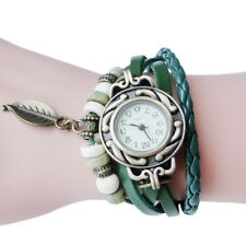 Women Children Retro LeatherWinding Bracelet Leaf Pendant Watch