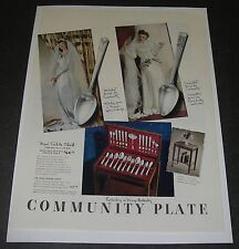 Print Ad 1942 SILVERWARE Community Plate Wedding Fashion Gown Table Chest Milady