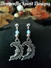 Wiccan/Pagan/Goth Magical -New Beginnings- Moonstone Crescent Moon Earrings