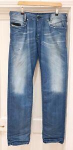 """DIESEL IAKOP Mens 3D Regular Slim Tapered Fit Distressed Jeans Blue W34"""" L 34"""""""