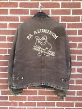 Vintage Embroidered Carhartt Work Jacket Brown Lined PA Aluminum Monkey Large