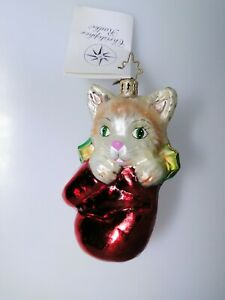 Christopher Radko Kitten Mitten ornament from 2002 with tag