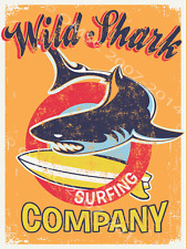 Wild Shark Surfing Metal Sign, Tropical Decor, Den or Gameroom Decor