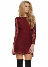 Lace Round Neck Long Sleeve Mini Dresses for Women
