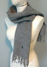 Polo Ralph Lauren Grey Scarf Lambs Wool Small Green Pony Made in Scotland Unisex