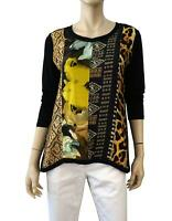 HARARI Multi Print Charmeuse Panel and Black Jersey High Low Top XS