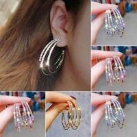 Fashion Crystal Rhinestone Ear Stud Hoop Circle Earrings Women Jewellery Gift