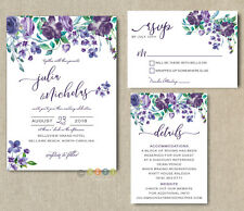 Personalized Eggplant & Violet Floral Wedding Invitations Suite with Envelopes