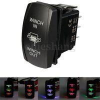 12V 24V Boat UTV Dual LED Light Winch In Out ON-OFF-ON Laser Rocker Switch 7-Pin
