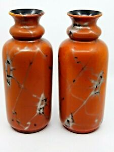 Mid Century Vases / Pair / Orange / Marble Lustre / German ?