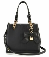 Michael Kors Cynthia Small Convertible Satchel Black Leather Bow +MK dustbag NWT