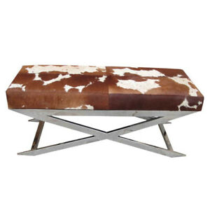 Leather Steel Modern Art Seat Comfortable Bench Living Room Home Office Room