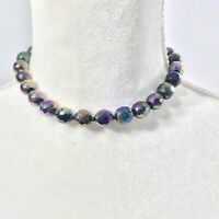 Vintage Black Iridescent Faceted Glass Bead Choker Necklace Gift