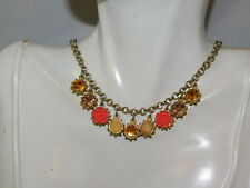 """Coral color Rose Flower Rhinestone Charm Silver 16"""" Chain Necklace  7d 72"""