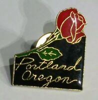 Vintage Rare Portland Oregon US State Red Rose htf TRAVEL usa Pinback Button Pin