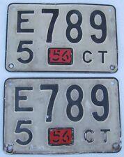 Connecticut 1956 License Plate PAIR # E5 789