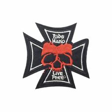 Live Free Skull Cross (Iron On) Embroidery Applique Patch Sew Iron Badge