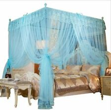 Sky Blue Ruffled Four 4 Post Bed Canopy Netting Curtains Sheer Panel Any Size