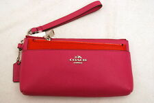 NWT COACH Embossed Textured Leather Zippy Wallet Pop-up Pouch #52334 Fuchsia