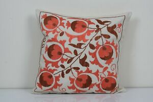 """18"""" x 18"""" Vintage Colorful Suzani Lumbar Pillow Cover, Cushion Cover 1960s"""