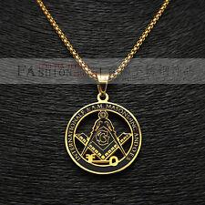 "Stainless Steel Gold Key Masonic Symbol Freemason Pendant  24"" Chain Necklace"