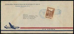 MayfairStamps Dominican Republic 1953 Ciudad Trujillo to Miami Florida Air Mail