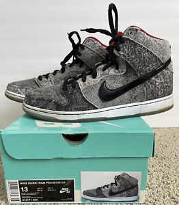 Nike Dunk High Premium SB Salt Stain Black Black Gym Red 313171 024 Size 13