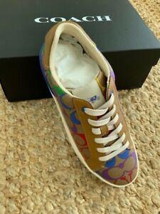 NIB – Coach Lowline Low Top Sneaker Tan Rainbow Signature Canvas – SIZE 9B