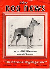 Vintage Dog News Magazine October 1947 Minature Pinscher Cover